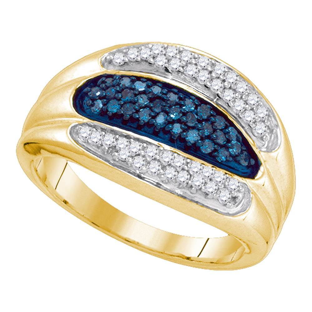 10kt Yellow Gold Womens Round Blue Color Enhanced Diamond Triple Row Band 3/8 Cttw