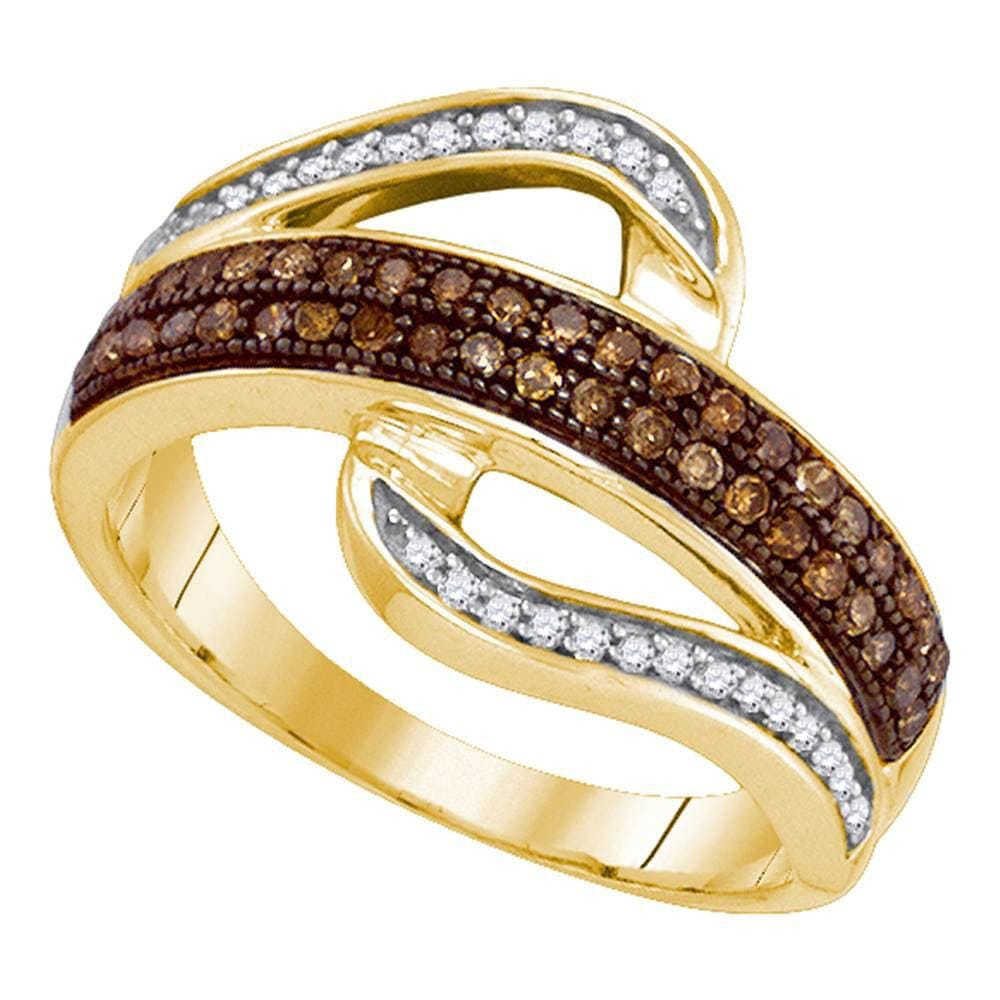 10kt Yellow Gold Womens Round Brown Color Enhanced Diamond Curved Band Ring 1/3 Cttw