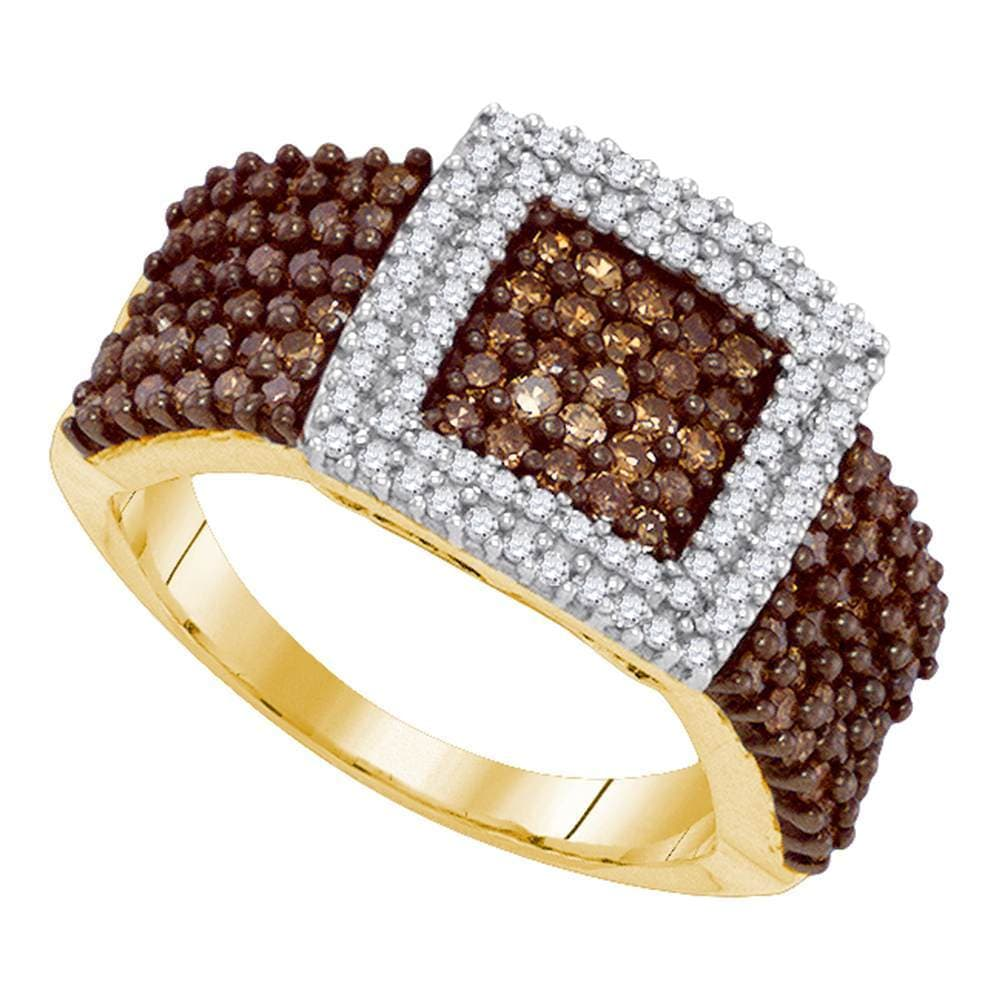 10kt Yellow Gold Womens Round Brown Color Enhanced Diamond Square Cluster Ring 1.00 Cttw