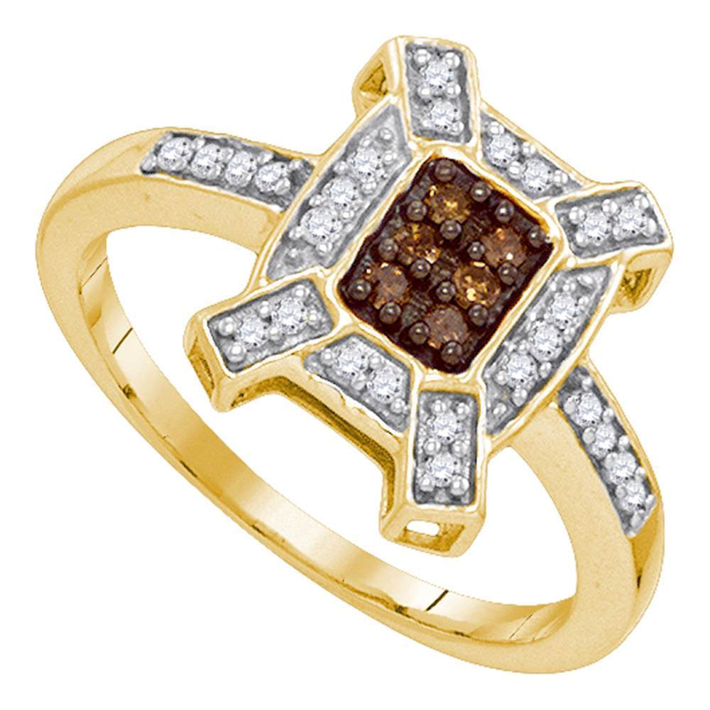 10kt Yellow Gold Womens Round Cognac-brown Color Enhanced Diamond Square Ring 1/5 Cttw