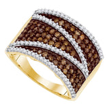 10kt Yellow Gold Womens Round Cognac-brown Color Enhanced Diamond Stripe Band Ring 1.00 Cttw