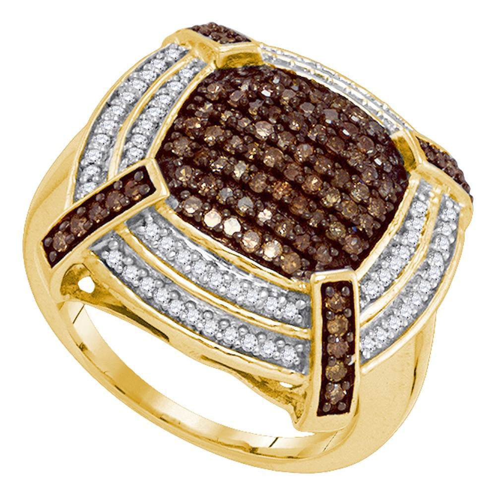10kt Yellow Gold Womens Round Brown Color Enhanced Diamond Square Cluster Ring 3/4 Cttw