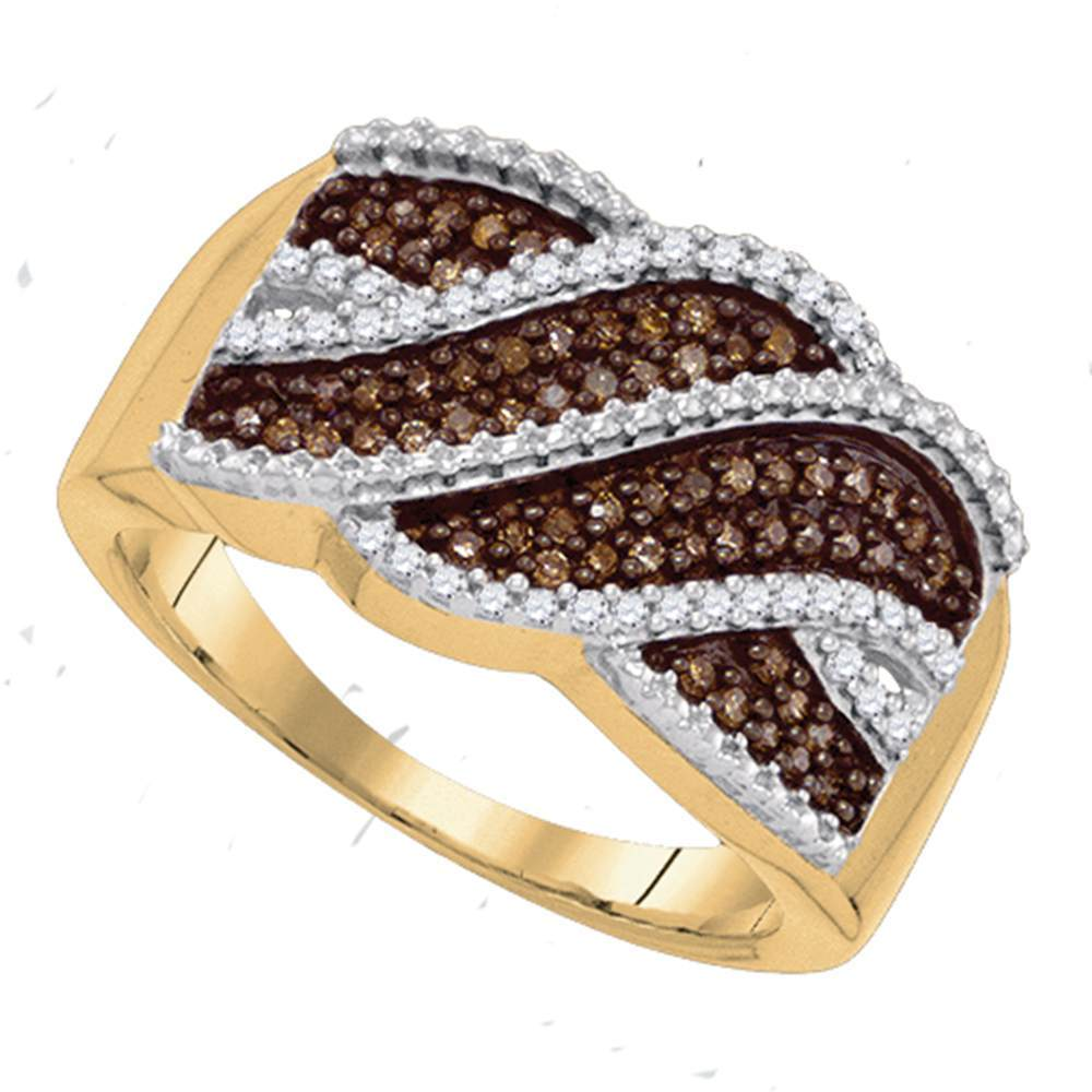 10kt Yellow Gold Womens Round Cognac-brown Color Enhanced Natural Diamond Crossover Band 1/3 Cttw