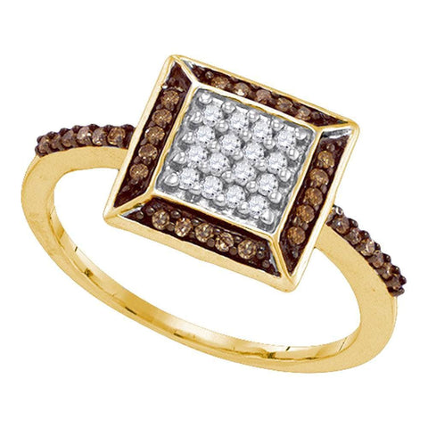 10kt Yellow Gold Womens Round Cognac-brown Color Enhanced Diamond Square Frame Cluster Ring 1/4 Cttw