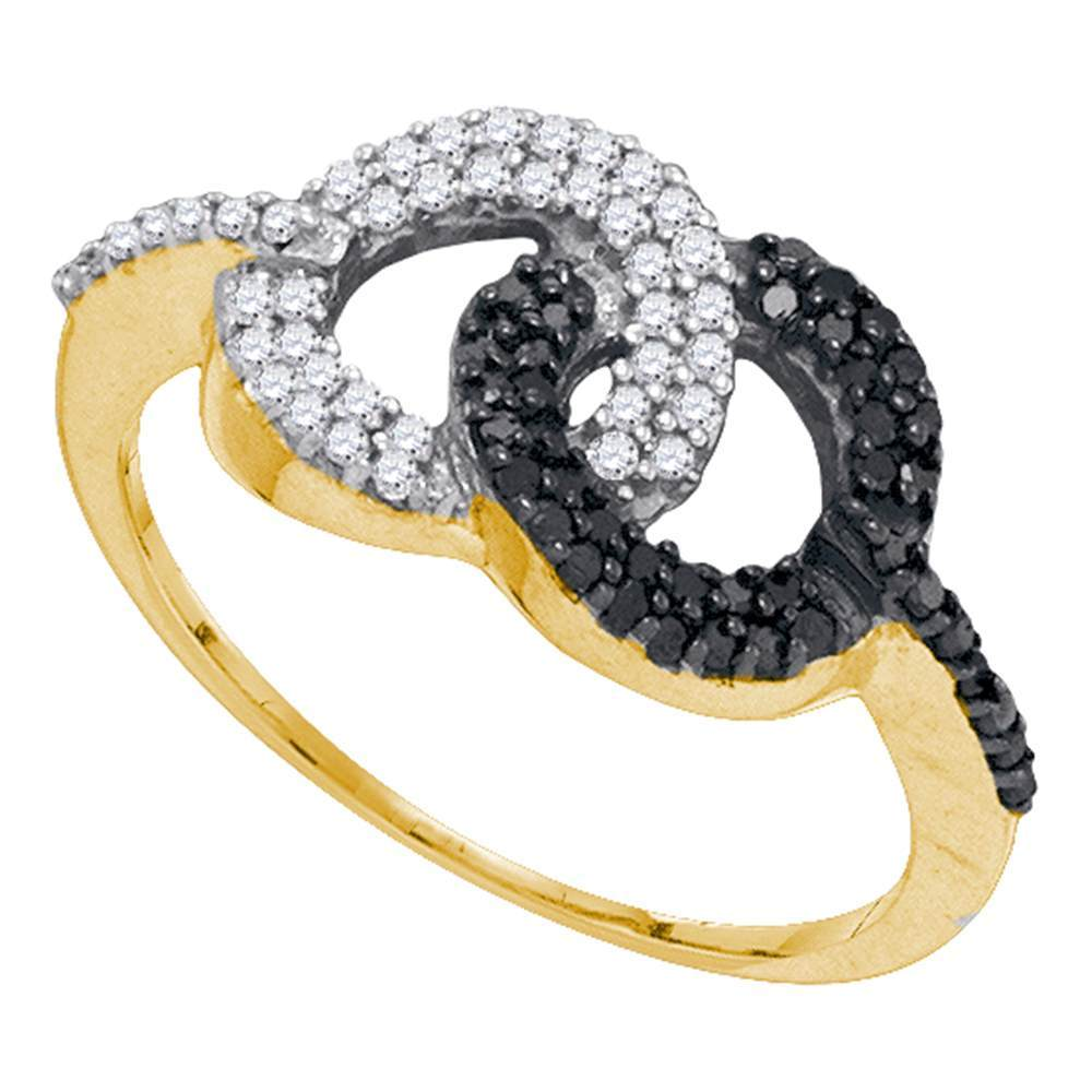 10kt Yellow Gold Womens Round Black Color Enhanced Diamond Circle Cluster Ring 1/3 Cttw