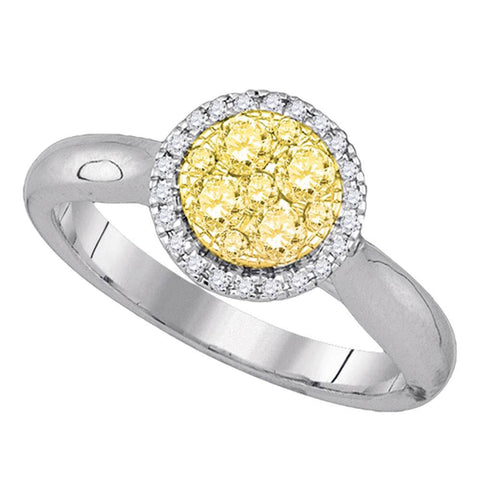 14kt White Gold Womens Round Canary Yellow Diamond Circle Cluster Ring 1/2 Cttw