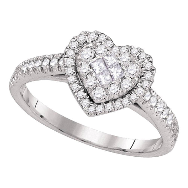 14kt White Gold Womens Princess Round Diamond Heart Cluster Ring 1/2 Cttw
