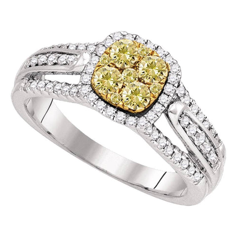 14kt White Gold Womens Round Yellow Diamond Cluster Bridal Wedding Engagement Ring 3/4 Cttw
