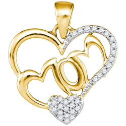 10kt Yellow Gold Womens Round Diamond Mom Heart Pendant 1/6 Cttw