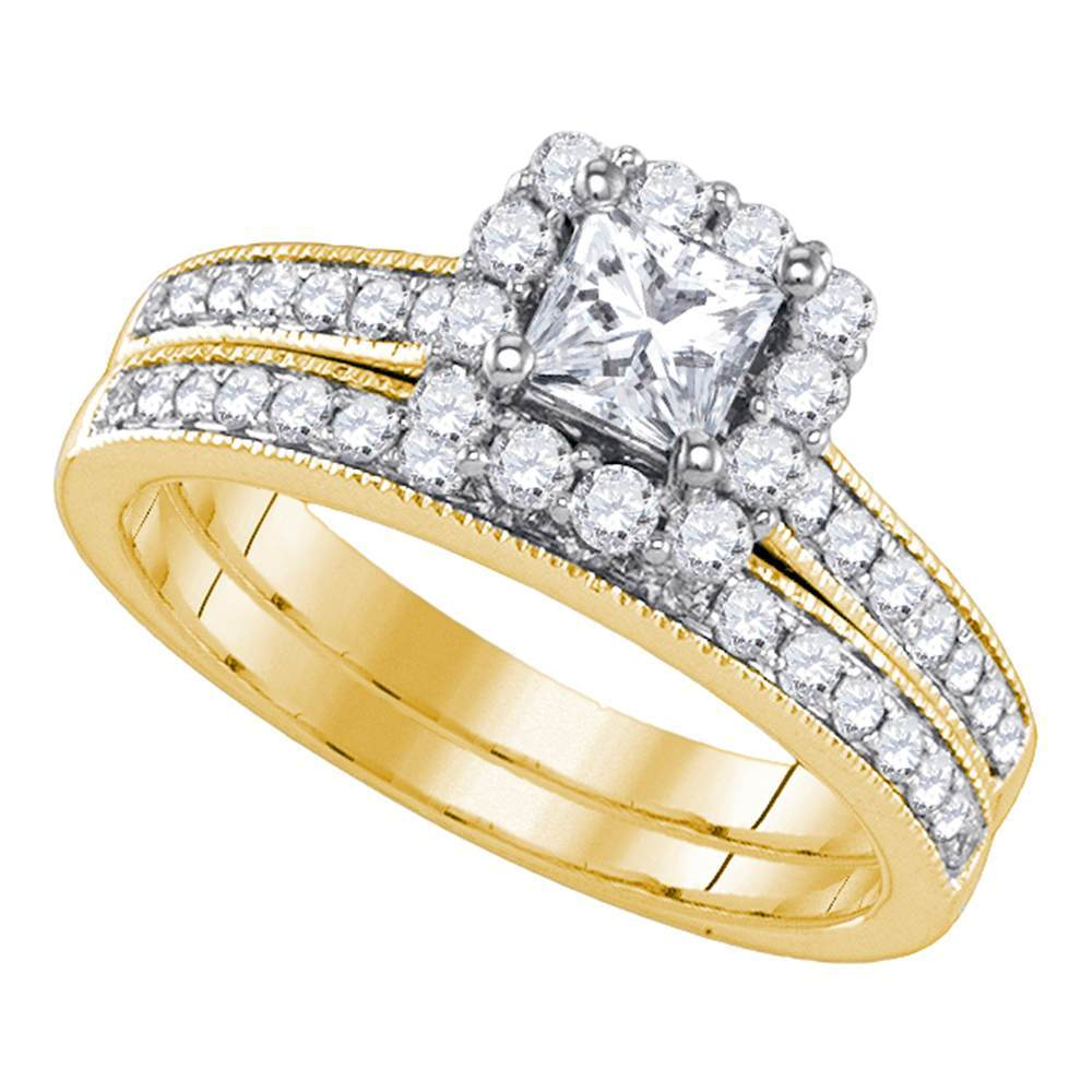 14kt Yellow Gold Womens Princess Diamond Halo Bridal Wedding Engagement Ring Band Set 1-1/4 Cttw