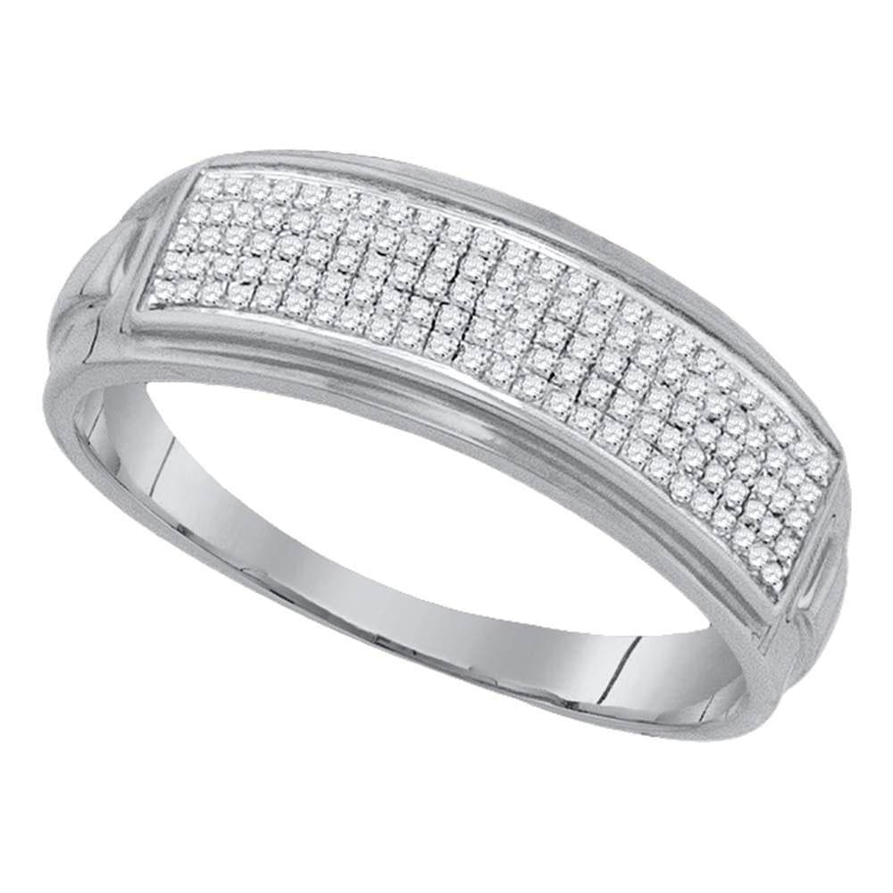 Sterling Silver Mens Round Diamond Pave Band Ring 1/4 Cttw