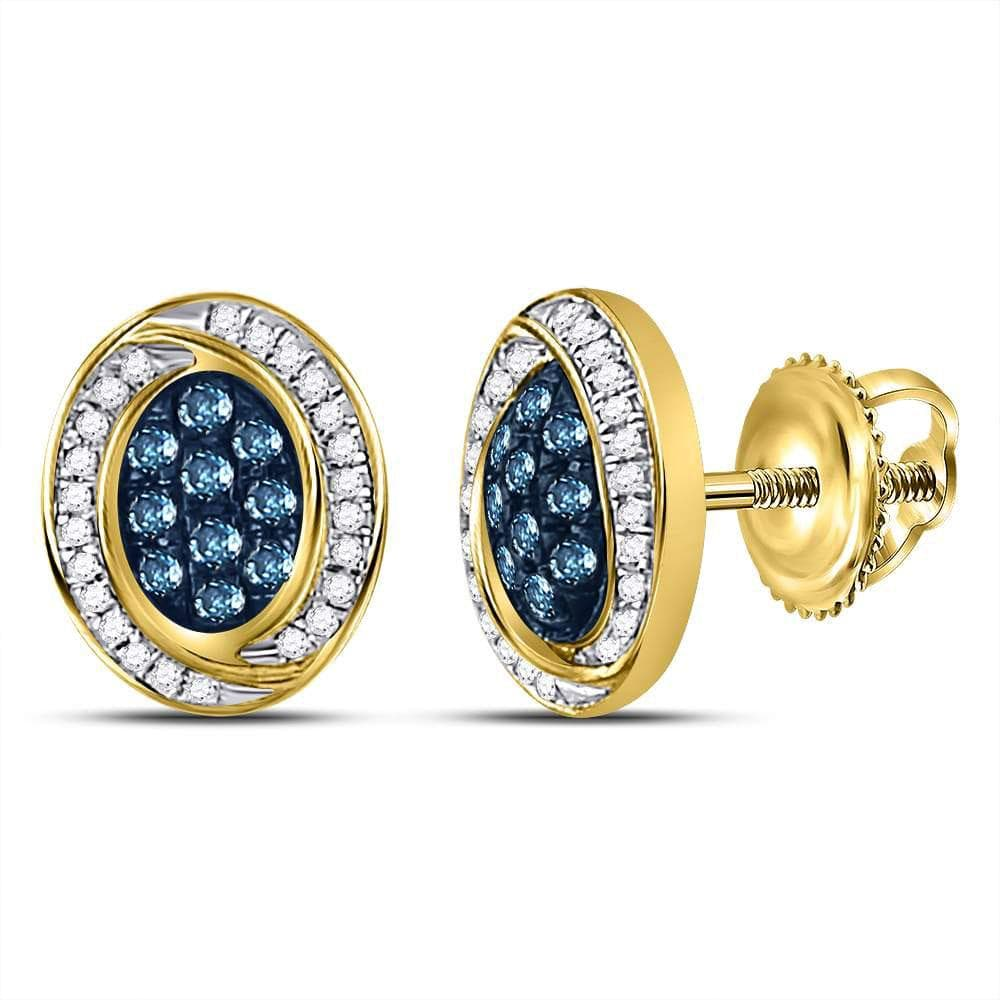 10kt Yellow Gold Womens Round Blue Color Enhanced Diamond Oval Cluster Earrings 1/3 Cttw