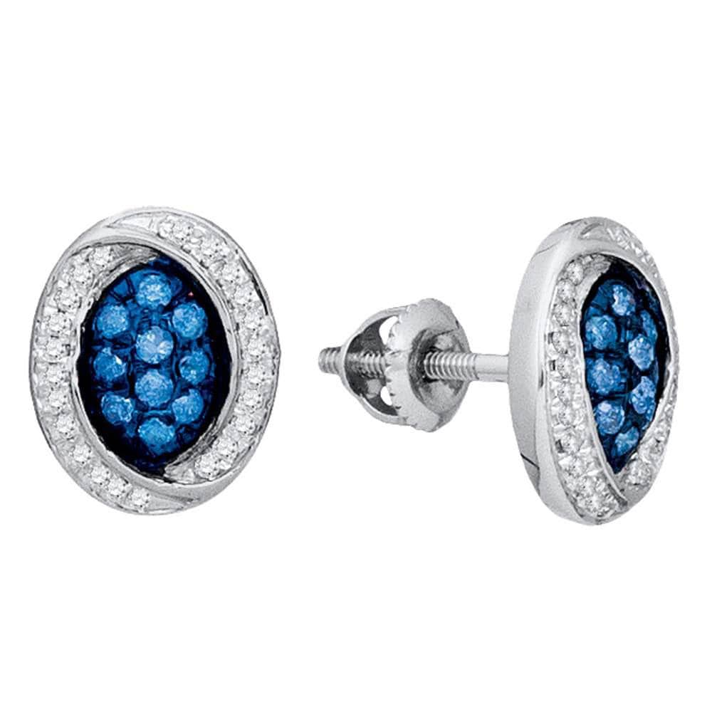 10kt White Gold Womens Round Blue Color Enhanced Diamond Oval Cluster Earrings 1/3 Cttw