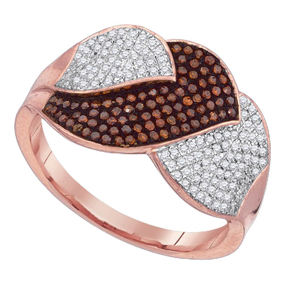 10kt Rose Gold Womens Round Red Color Enhanced Diamond Leaf Fashion Ring 1/2 Cttw