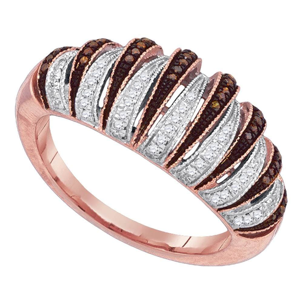 10kt Rose Gold Womens Round Red Color Enhanced Diamond Striped Band Ring 1/4 Cttw