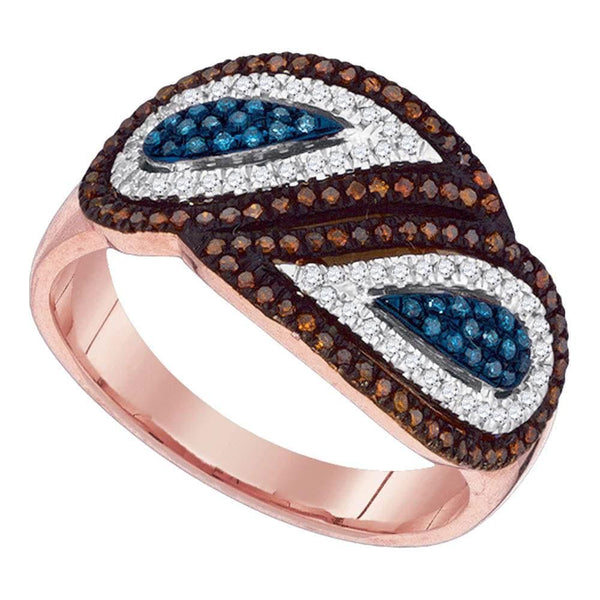 10kt Rose Gold Womens Round Red Blue Color Enhanced Diamond Fashion Ring 3/8 Cttw
