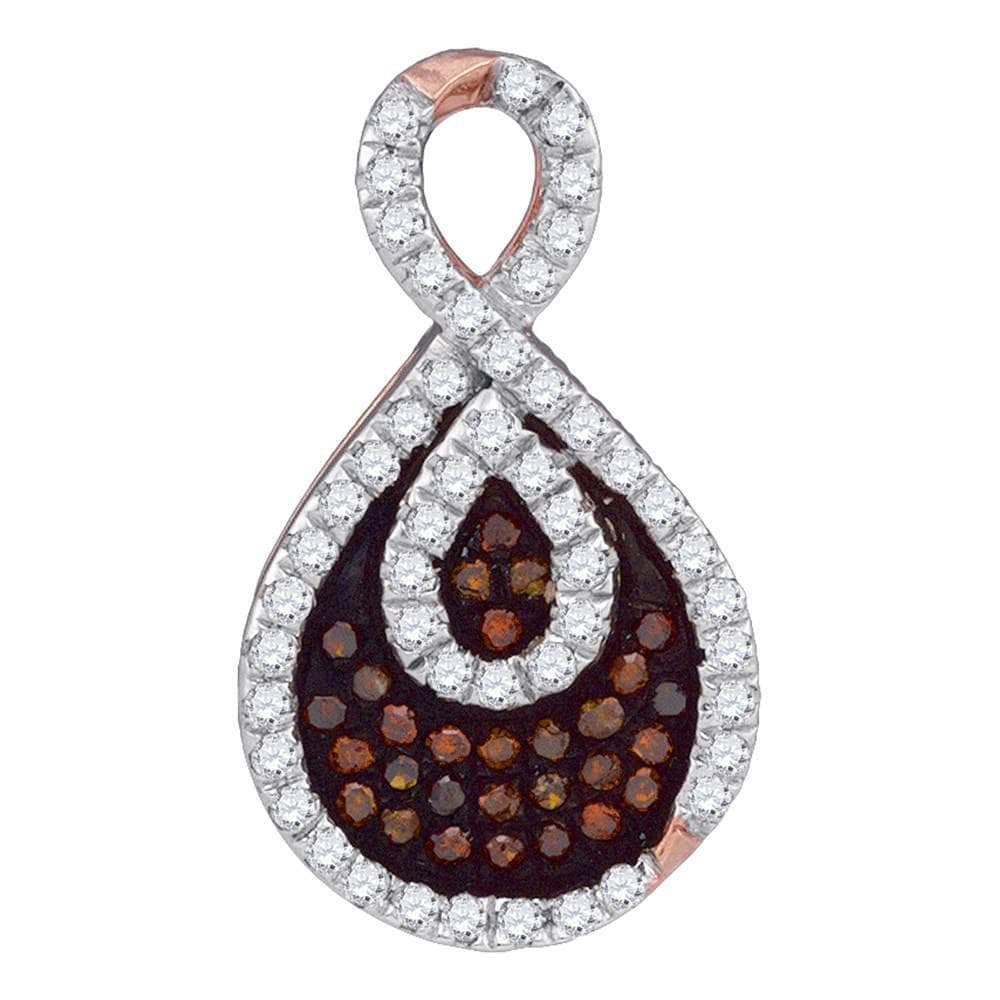 14kt Rose Gold Womens Round Red Color Enhanced Diamond Teardrop Pendant 1/4 Cttw