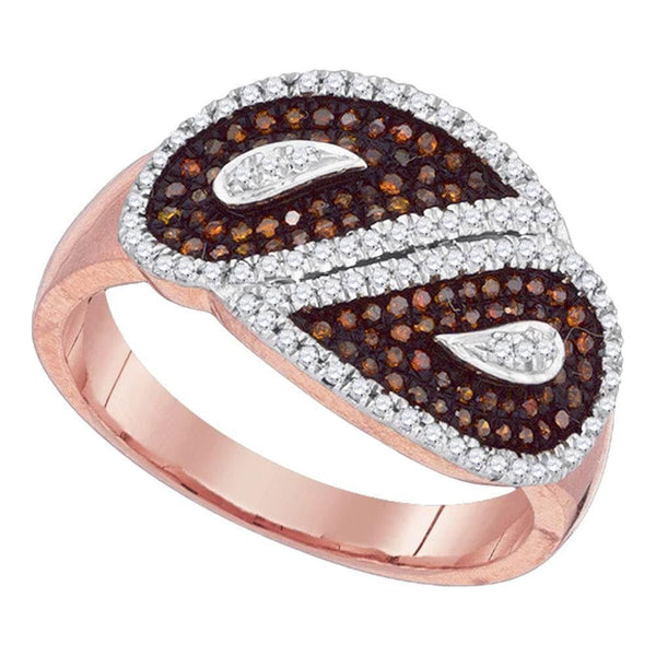 10kt Rose Gold Womens Round Red Color Enhanced Diamond Teardrop Ring 3/8 Cttw