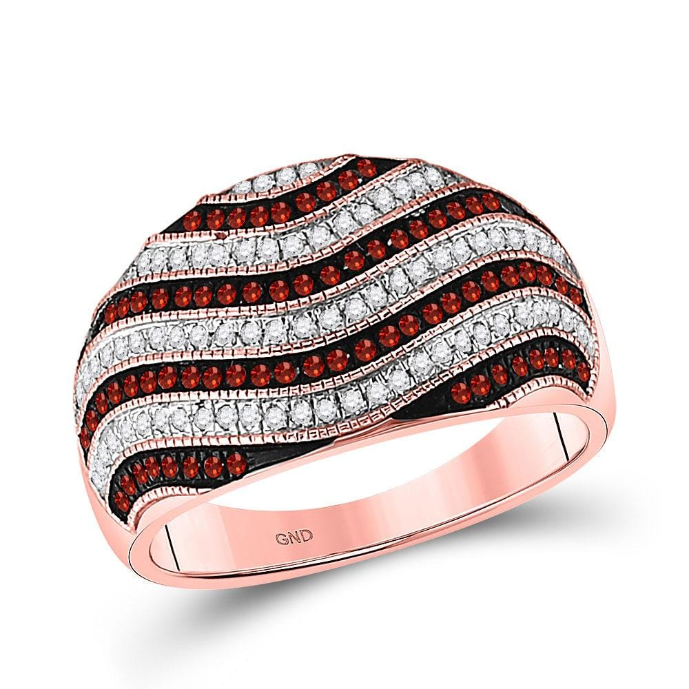 10kt Rose Gold Womens Round Red Color Enhanced Diamond Wave Stripe Ring 1/2 Cttw