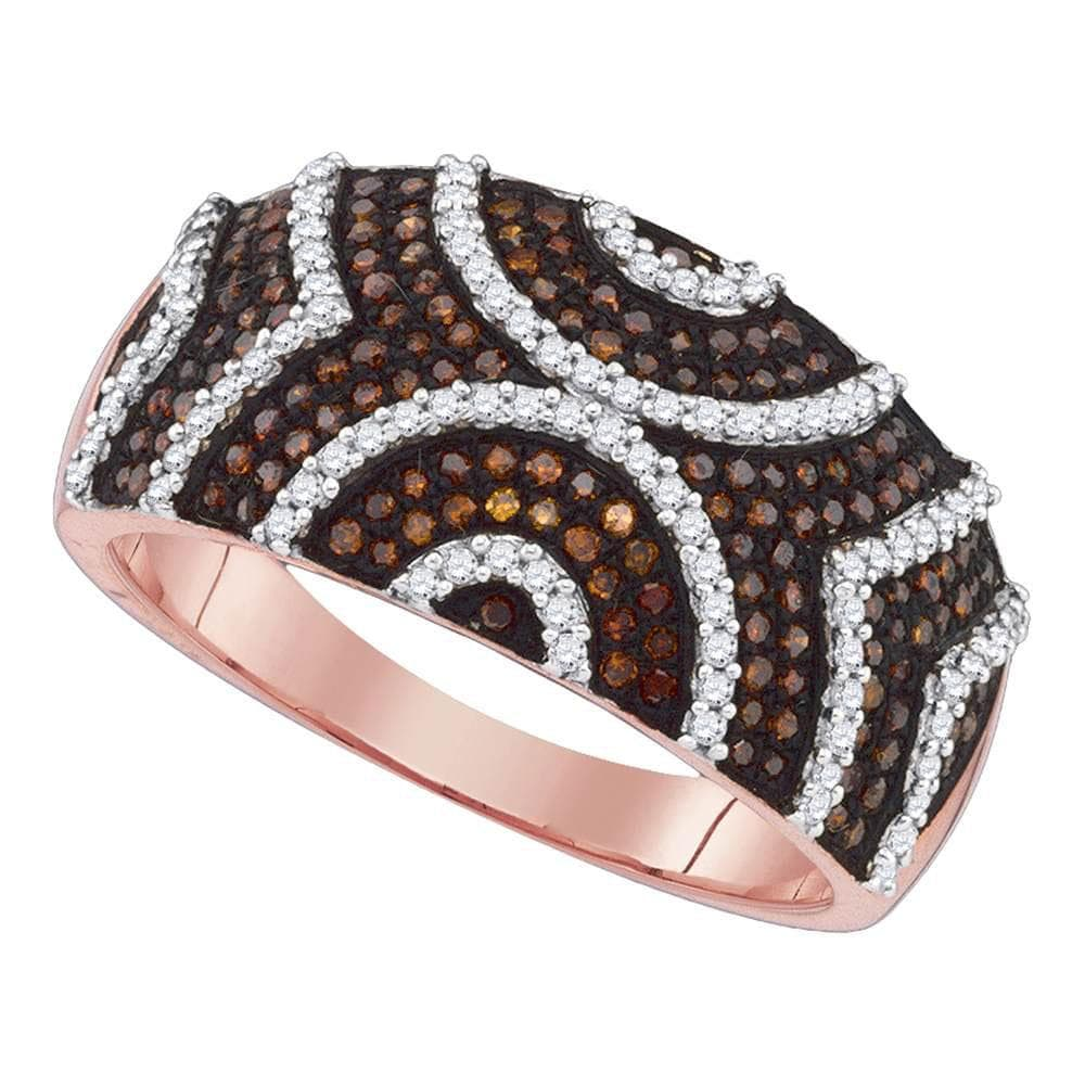 10kt Rose Gold Womens Round Red Color Enhanced Symmetrical Diamond Band Ring 5/8 Cttw