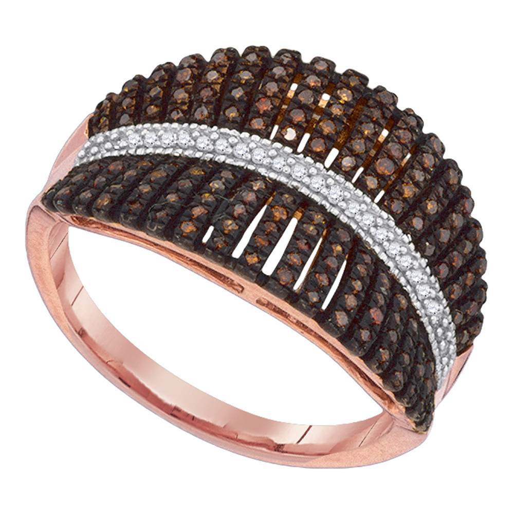 10kt Rose Gold Womens Round Red Color Enhanced Diamond Fashion Ring 3/8 Cttw