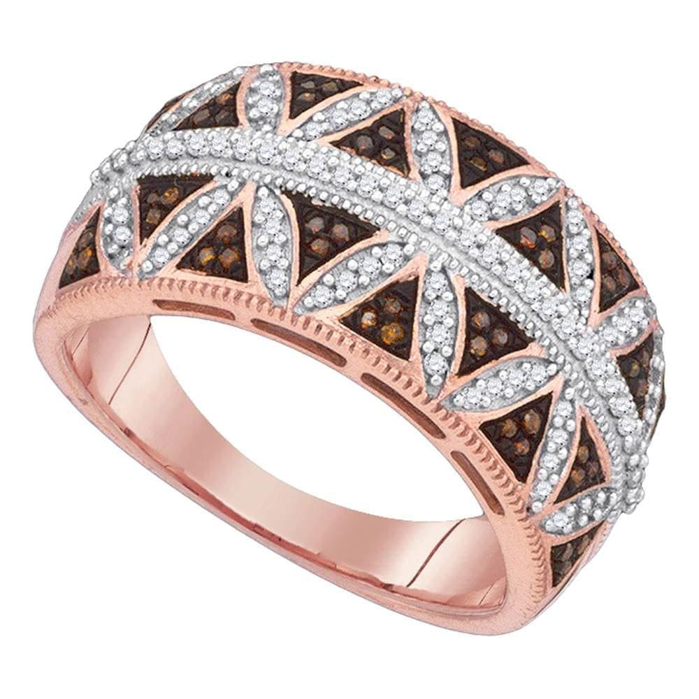 10kt Rose Gold Womens Round Red Color Enhanced Symmetrical Diamond Band Ring 3/8 Cttw