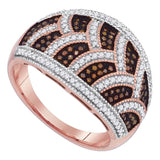 10kt Rose Gold Womens Round Red Color Enhanced Diamond Milgrain Braid Ring 1/2 Cttw