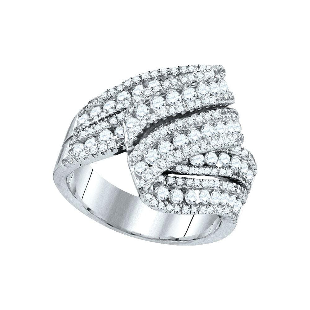 14kt White Gold Womens Round Diamond Fold Over Fashion Ring 2 Cttw