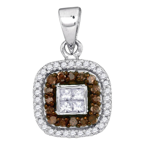 10kt White Gold Womens Round Cognac-brown Color Enhanced Diamond Square Frame Pendant 1/3 Cttw