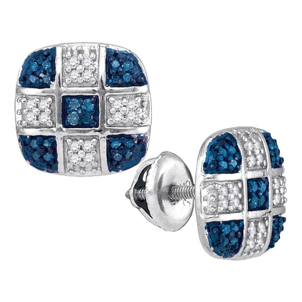 10kt White Gold Womens Round Blue Color Enhanced Diamond Checkered Stud Earrings 1/4 Cttw