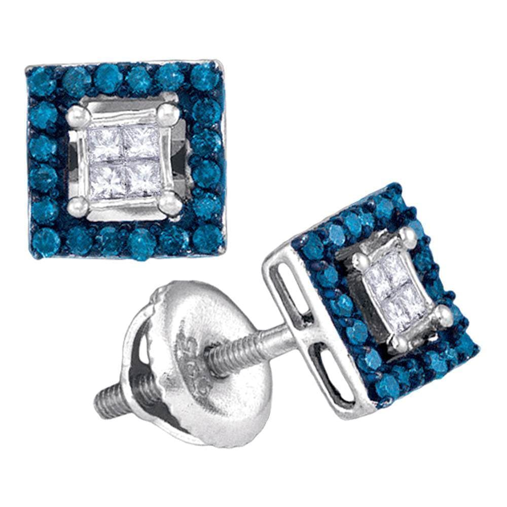 10kt White Gold Womens Round Blue Color Enhanced Diamond Square Cluster Earrings 1/3 Cttw