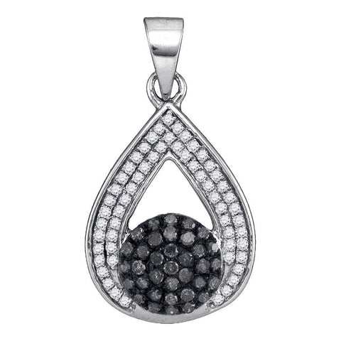 10kt White Gold Womens Round Black Color Enhanced Diamond Teardrop Cluster Pendant 1/3 Cttw