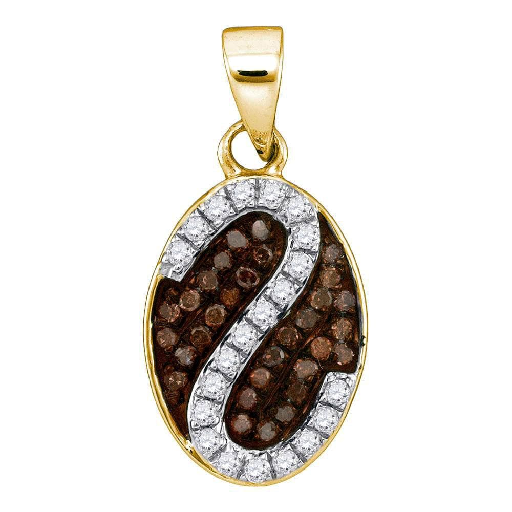 10kt Yellow Gold Womens Round Cognac-brown Color Enhanced Diamond Cluster Stripe Pendant 1/4 Cttw