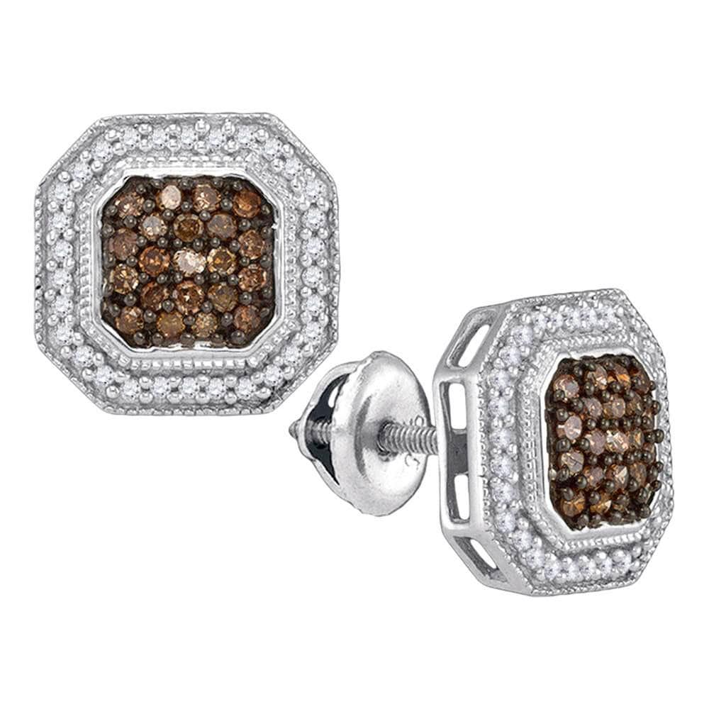 10k White Gold Brown Diamond Womens Square-shape Halo Stud Earrings