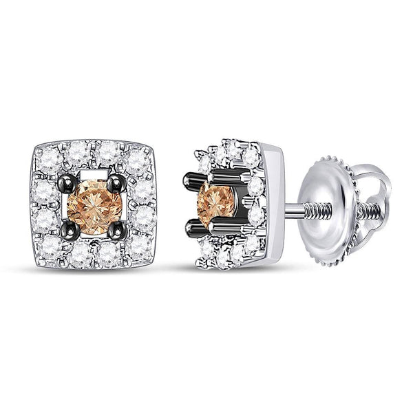 10kt White Gold Womens Round Brown Color Enhanced Diamond Square Stud Earrings 1/4 Cttw