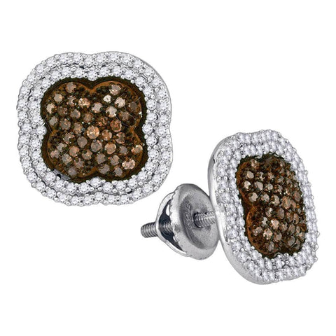 10kt White Gold Womens Round Brown Color Enhanced Diamond Quatrefoil Cluster Earrings 3/4 Cttw