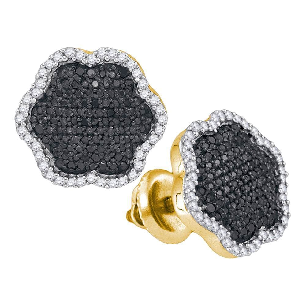 10kt Yellow Gold Womens Round Black Color Enhanced Diamond Cluster Earrings 1/2 Cttw