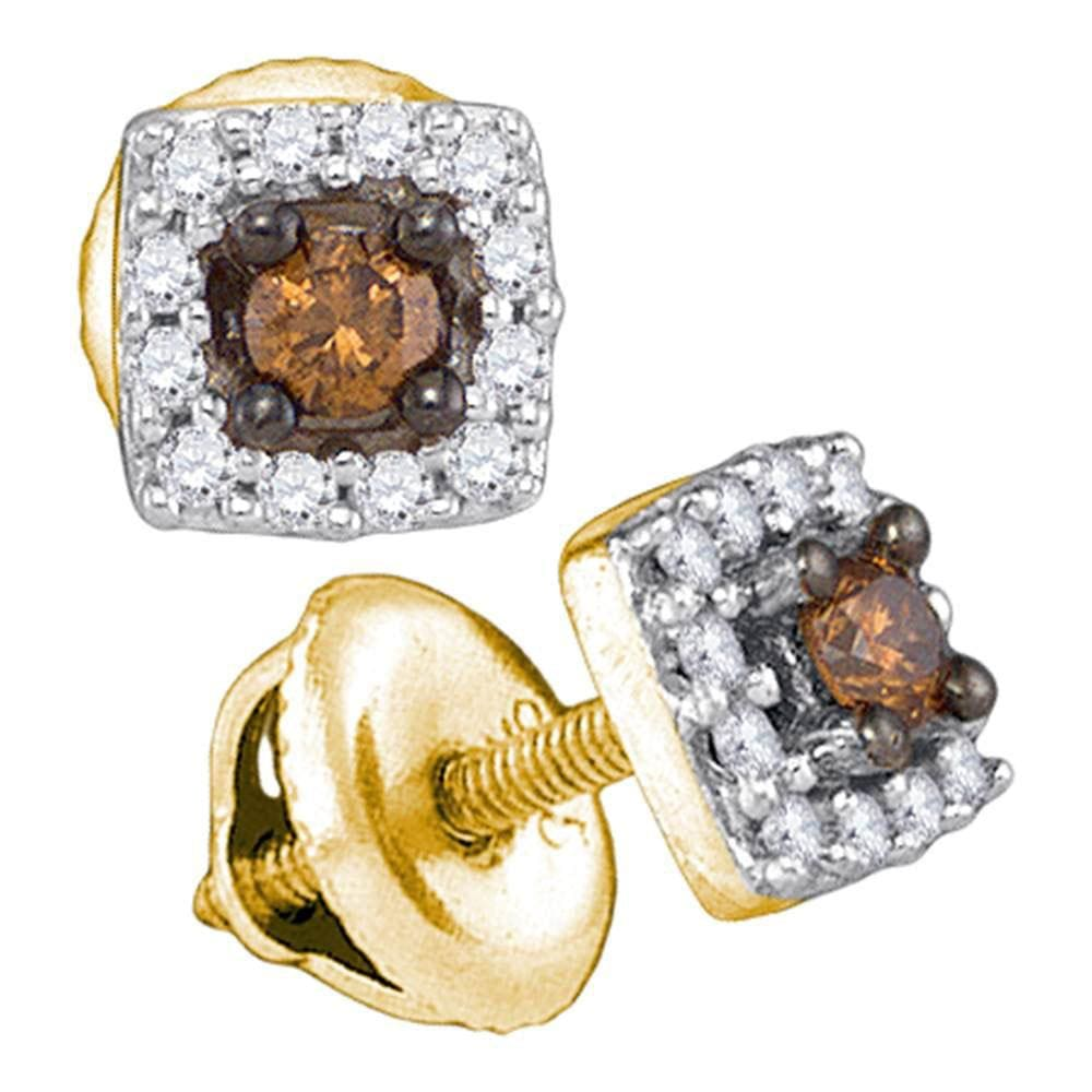 10kt Yellow Gold Womens Round Brown Color Enhanced Diamond Square Stud Earrings 1/4 Cttw