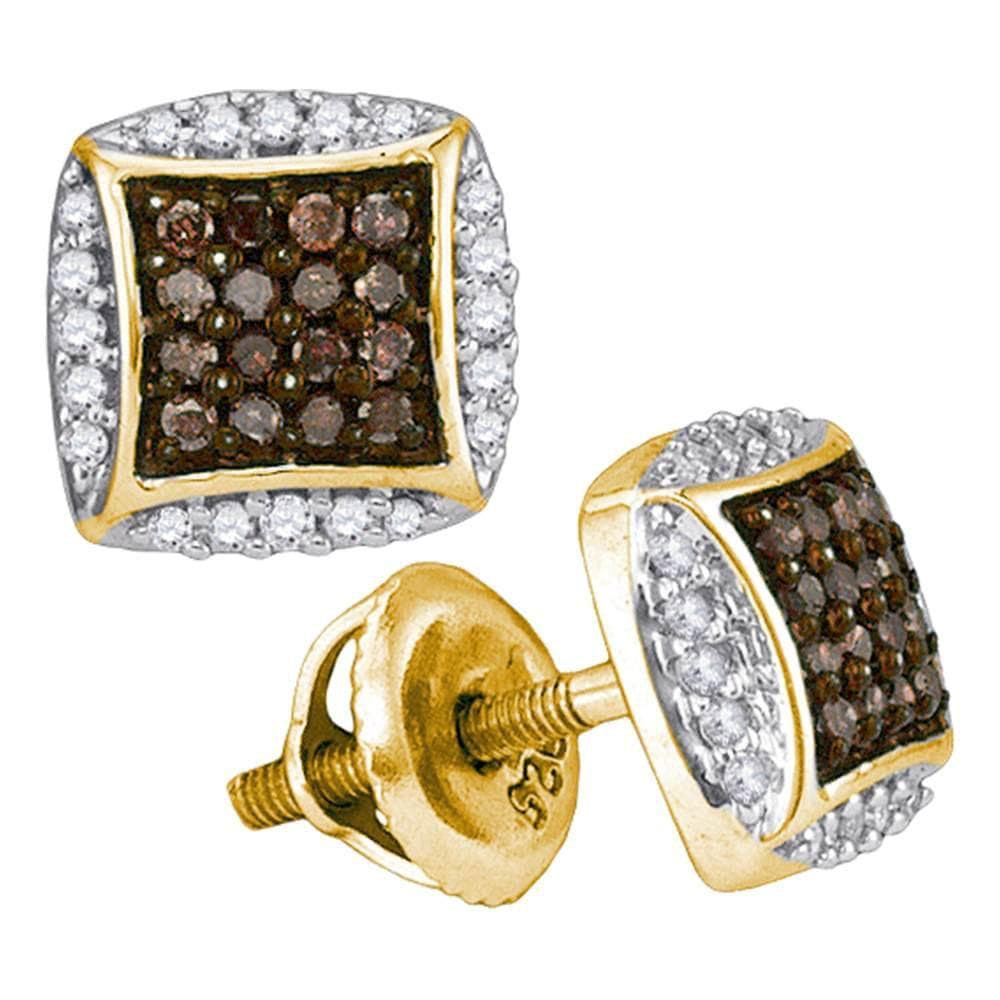 10kt Yellow Gold Womens Round Cognac-brown Color Enhanced Diamond Square Cluster Earrings 1/3 Cttw