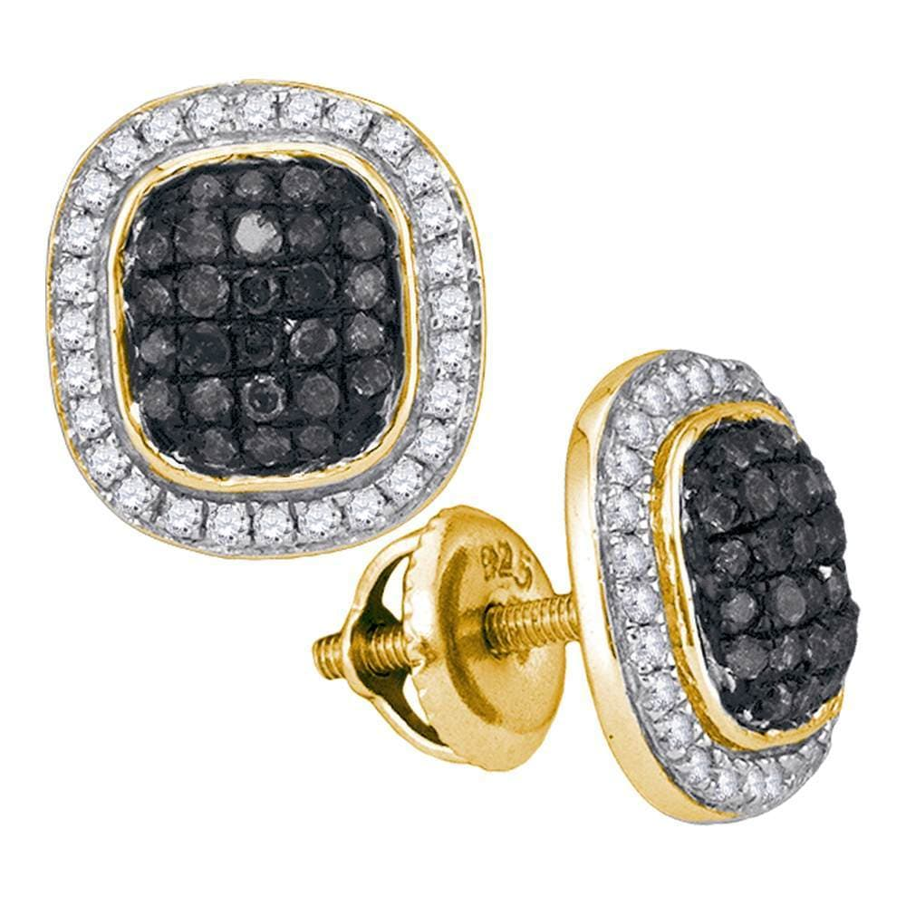 10kt Yellow Gold Womens Round Black Color Enhanced Diamond Square Frame Cluster Earrings 1/2 Cttw
