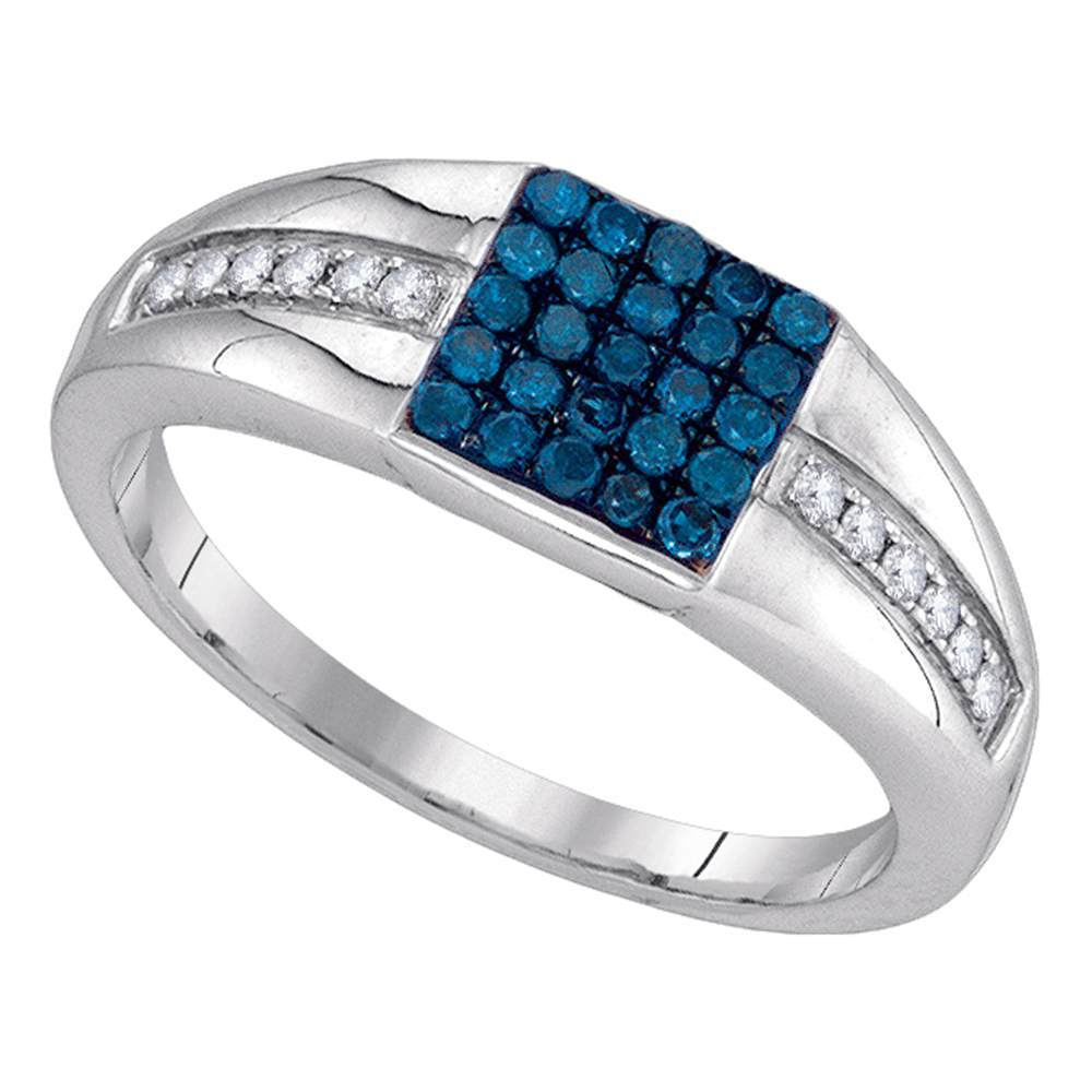 10kt White Gold Mens Round Blue Color Enhanced Diamond Square Cluster Ring 1/2 Cttw