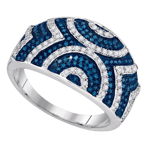 10kt White Gold Womens Round Blue Color Enhanced Diamond Geometric Stripe Band 1/2 Cttw