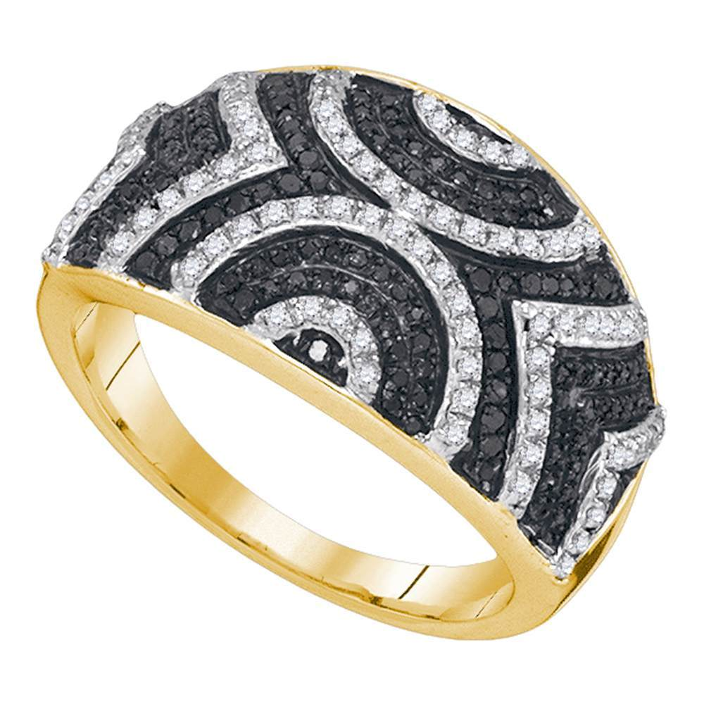 10kt Yellow Gold Womens Round Black Color Enhanced Diamond Geometric Stripe Band 1/2 Cttw