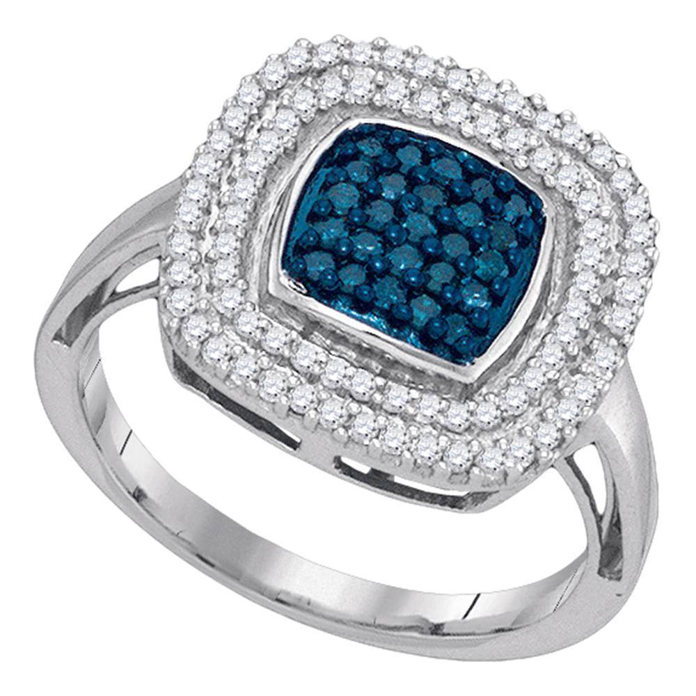 10kt White Gold Womens Round Blue Color Enhanced Diamond Square Frame Cluster Ring 1/2 Cttw