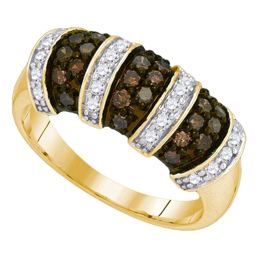 10kt Yellow Gold Womens Round Cognac-brown Color Enhanced Diamond Alternating Stripe Band 3/4 Cttw