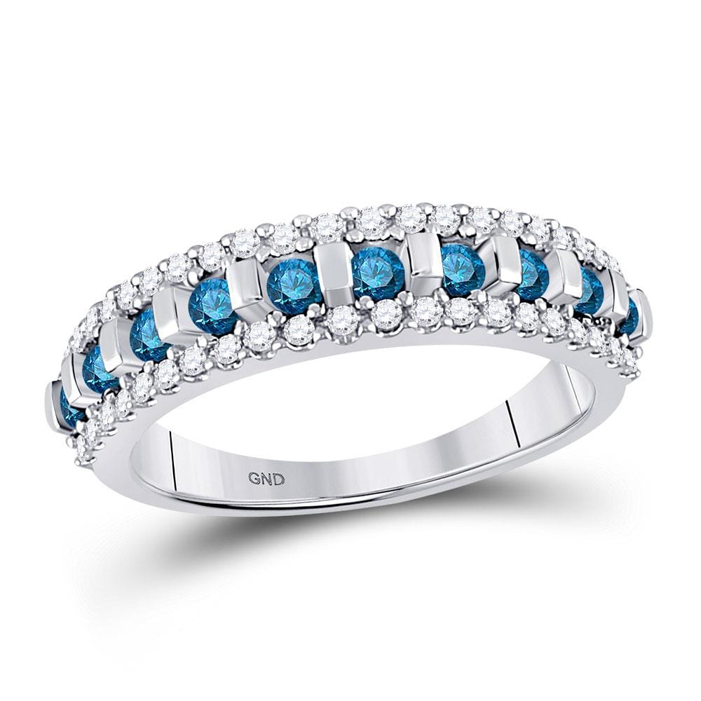10kt White Gold Womens Round Blue Color Enhanced Channel-set Diamond Band Ring 1/2 Cttw