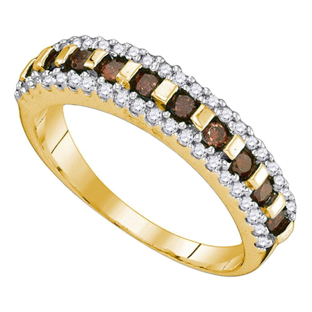 10kt Yellow Gold Womens Round Cognac-brown Color Enhanced Diamond Triple Row Band 1/2 Cttw