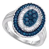 10kt White Gold Womens Round Blue Color Enhanced Diamond Oval Frame Cluster Ring 3/4 Cttw