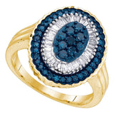 10kt Yellow Gold Womens Round Blue Color Enhanced Diamond Oval Frame Cluster Ring 3/4 Cttw