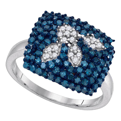 10kt White Gold Womens Round Blue Color Enhanced Diamond Square Cluster Ring 1.00 Cttw